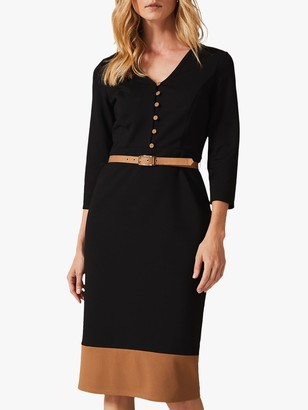 Phase Eight Delilah Colour Block Belted Dress, Black/Camel