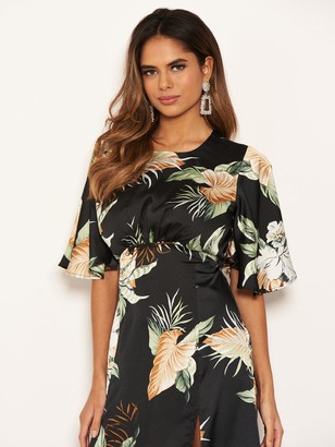 AX Paris Printed Short Sleeve Midi Dress - Black