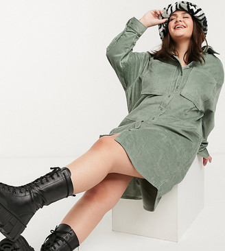 Collusion Plus exclusive cord midi shirt dress in khaki