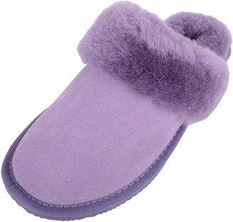 Snugrugs Elsie Sheepskin Mule Slipper with Cuff and Rubber Sole