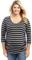 Plus Size Maternity Oh Baby by MotherhoodTM Striped Keyhole Tee