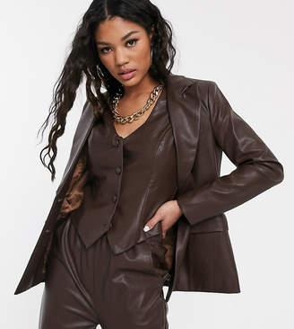 UNIQUE21 double breasted pu blazer co-ord-Brown