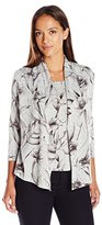 Alfred Dunner Women's Petite Floral 2fer Cardigan Sweater with Knit Inset