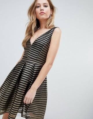 Oh My Love Structured Stipe Skater Dress