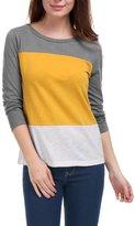 Allegra K Women's Color Block Bracelet Sleeves Cotton T-shirt M