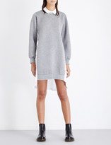 Izzue Pleated cotton-poplin and jersey shirt dress
