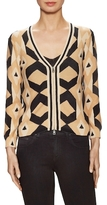 Tracy Reese Cotton Ribbed Intarsia Cardigan