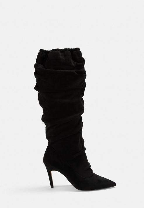 a8bfbb75af8 Black Faux Suede Ruched Pointed Toe Mid Heel Boots