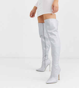 Asos DESIGN Wide Fit Kendra stiletto thigh high boots in silver glitter