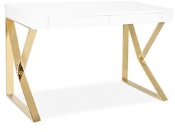 Everly Lorne Solid Wood Writing Desk Quinn Top Finish: White High Gloss, Base Finish: Gold