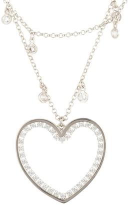 Latelita Heart Large Double Strand Pendant Choker Silver