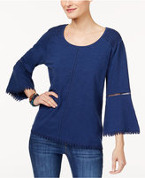 Style&Co. Style & Co Style & Co Petite Bell-Sleeve Crochet-Trim Top, Created for Macy's