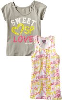 Southpole Kids Girls 7-16 Twofer Fashion Tee Shirt with Printed Tank Top