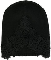 Ermanno Scervino lace insert knitted beanie - women - Cashmere - One Size