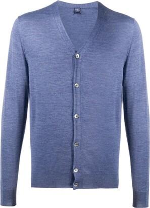 Fedeli V-neck ribbed knit cardigan