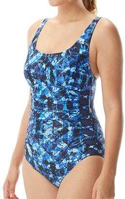 TYR Makai Lattice Controlfit (Blue) Women's Swimsuits One Piece