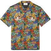 Gucci Appliquéd Floral-Print Washed-Silk Shirt