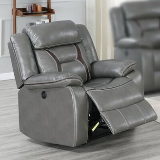 Red Barrel Studio Catarina Faux Leather Power Recliner Fabric: Gray