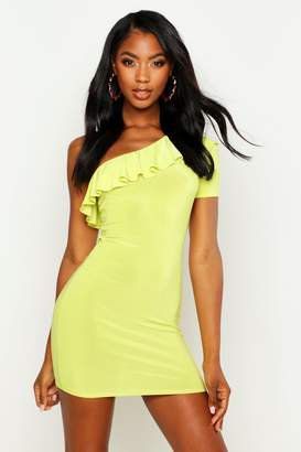boohoo Frill Detail One Shoulder Bodycon Mini Dress