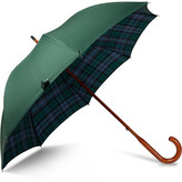 London Undercover Black Watch Check-lined Maplewood-handle Umbrella - Dark green