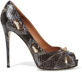 Valentino Embellished python pumps