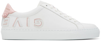 Givenchy White and Pink Urban Street Reverse Logo Sneakers