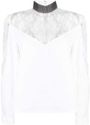 Christopher Kane lace poplin crystal blouse