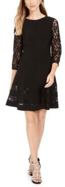 Jessica Howard Petite Sequined Lace-Sleeve Dress