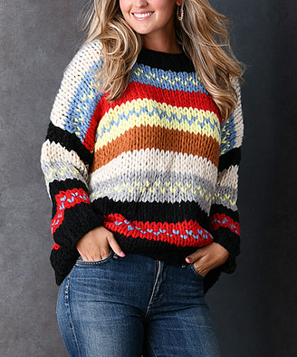 Couture Simply Women's Pullover Sweaters BLACK - Black & Red Stripe Dolman Sweater - Plus