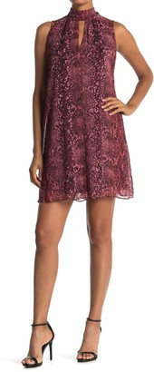 London Times Snake Print High Neck Swing Dress