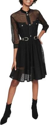 Maje Ramona Belted Lace Dress