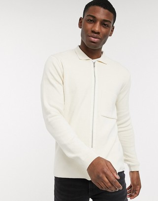 New Look zip through cardigan with collar in white