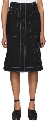 3.1 Phillip Lim Black Merino Series Denim High-Waisted Skirt