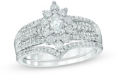 Zales 1 CT. T.W. Marquise Diamond Frame Bridal Set in 10K White Gold