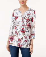 Karen Scott Floral-Print Henley Top, Only at Macy's