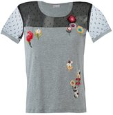 RED Valentino floral sequinned T-shirt - women - Polyamide/Cotton - M
