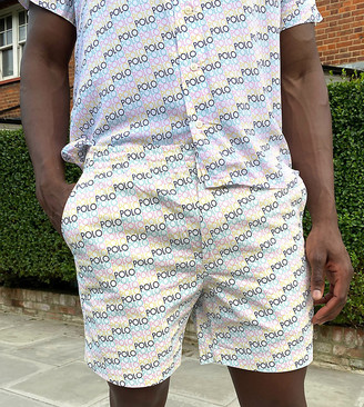 Polo Ralph Lauren x ASOS exclusive collab prepster short in white with all over logo