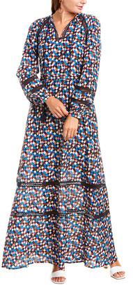 Tory Burch Lace-Insert Silk-Blend Maxi Dress