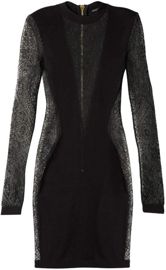 Balmain Lace-insert mini dress