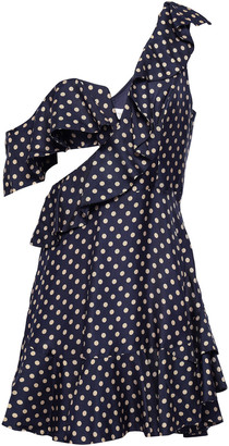 Zimmermann Ruffled Polka Dot Twill Mini Dress