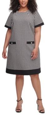 Tommy Hilfiger Plus Size Short-Sleeve Houndstooth Dress