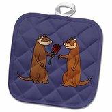3dRose All Smiles Art Love - Funny Ferrets in Love with Rose Art - 8x8 Potholder (phl_200585_1)