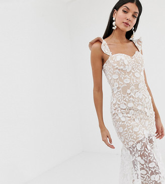Jarlo Tall all over lace embroidered midi dress with frilly off shoulder detail in white