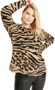 Charter Club Plus Size Cashmere Animal-Print Sweater, Created for Macy's