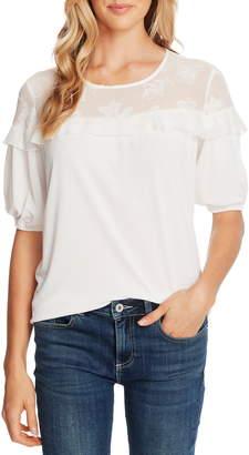 CeCe Clip Floral Detail Short Sleeve Top