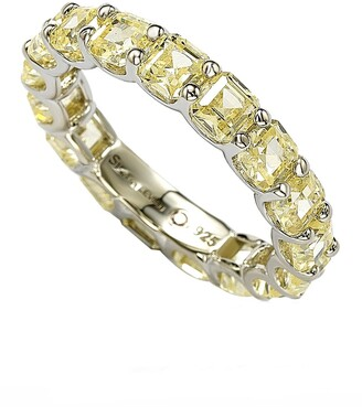 Suzy Levian Sterling Silver Yellow CZ Modern Eternity Band Ring