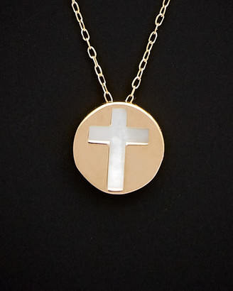 Italian Gold 14K 9Mm Mother-Of-Pearl Cross Necklace