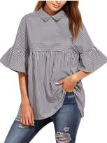 YACUN Women's Summer Bell Sleeve T-shirt Stripes Collared Tops XS