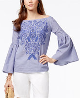 INC International Concepts Petite Cotton Embroidered Off-The-Shoulder Top, Only at Macy's