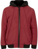 River Island Boys red padded bomber jacket with hood